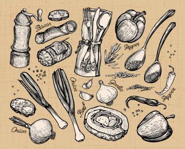 cooking, food. set of elements for restaurant menu or cafe. Vector illustration