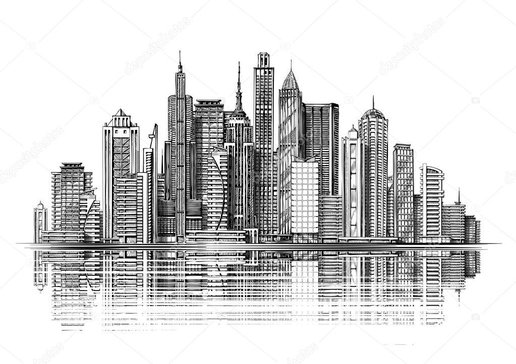 Grossstadt Architektur Wolkenkratzer Jahrgang Skizze Vektor Illustration Von Sergeypykhonin