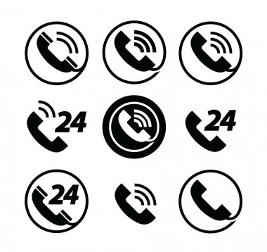 phone call. telephone. service 24 hours. set of icons