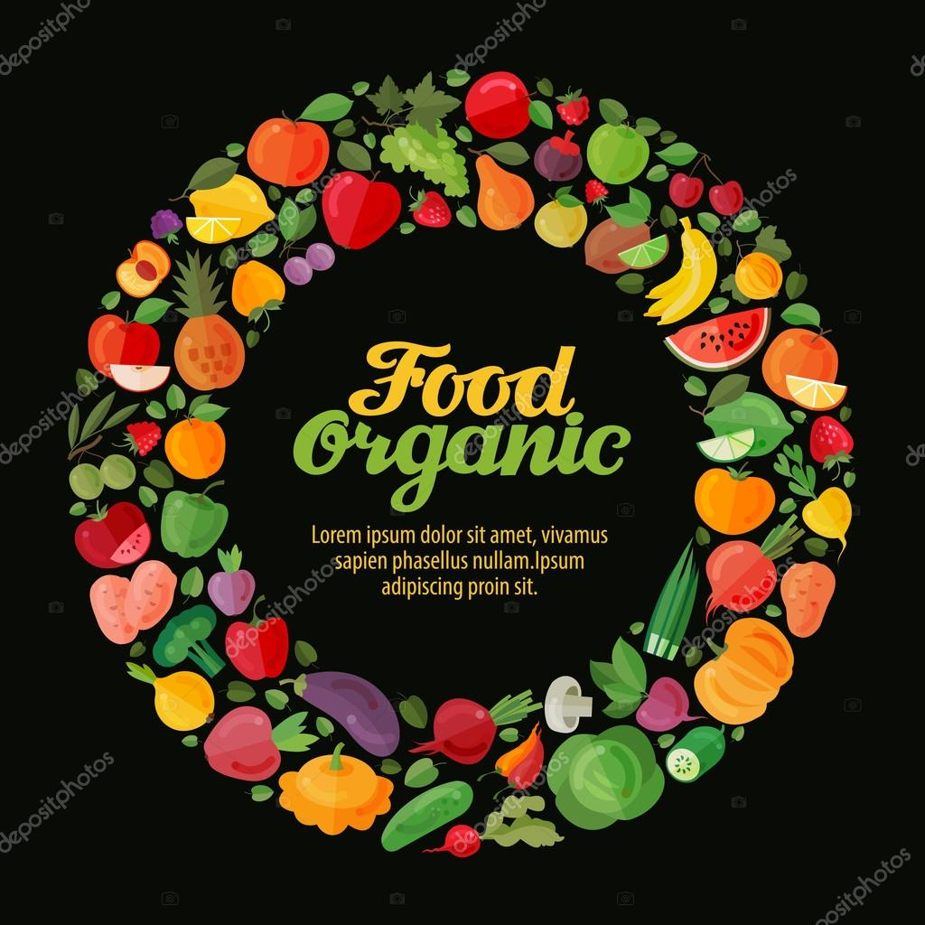 Fruits and Vegetables. Gardening, horticulture banner. Organic Food. Vector illustration