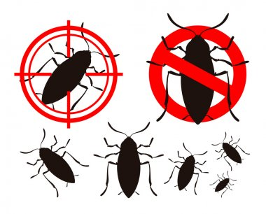 Pest control. cockroach icons set. insects. prohibitory sign and a target. vector illustration