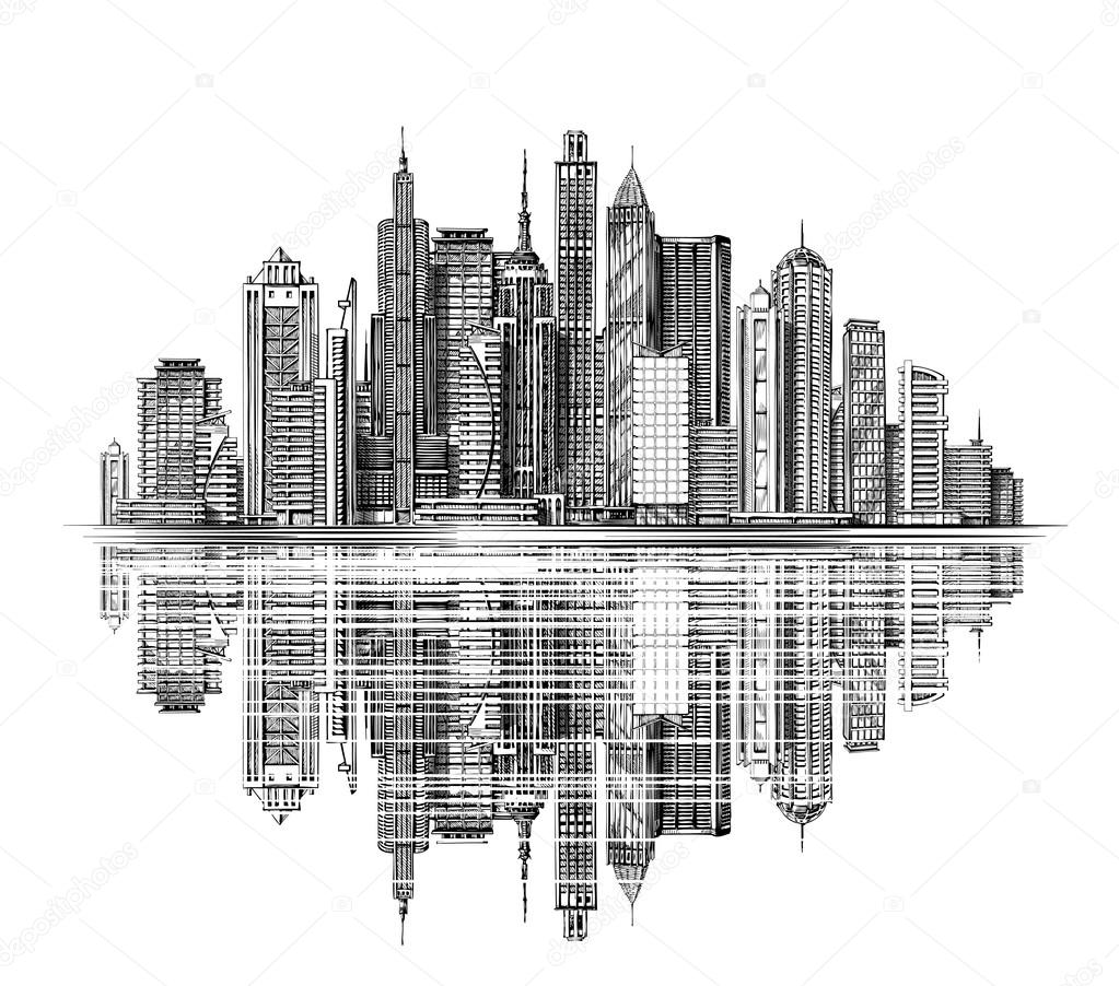 modern city skyline silhouette vector architecture and City Skyline Vector NYC Skyline Outline
