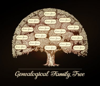Family tree in vintage style. Genealogical tree. Pedigree, surname, family name or dynasty