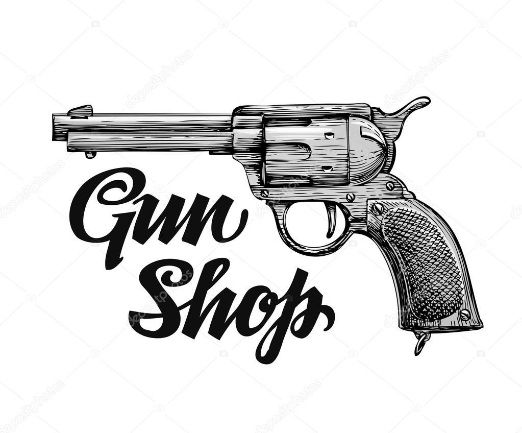 Dibujo Retro Dibujado De Mano Arma De Fuego. Armas