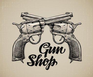 Crossed Pistols. Hand drawn sketch Gun. Vintage firearms. Self defense. Mafia or bandit. Vector illustration
