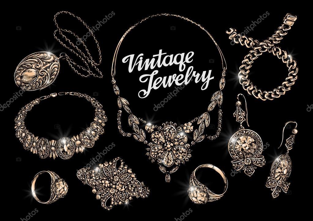 Vintage schmuck  Schmuck. Bijouterie. Schmuck-Shop. Hand gezeichnet, Armband, Ringe ...