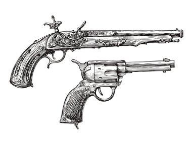 Vintage Gun. Retro Pistol, Musket. Hand-drawn sketch of a Revolver, Weapon, Firearm stock vector