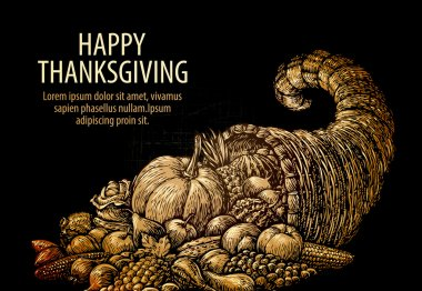 Happy Thanksgiving. Horn of plenty. Cornucopia with fruits and vegetables