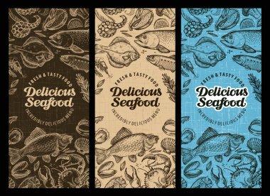 Seafood restaurant brochure, menu design. Hand-drawn food graphic