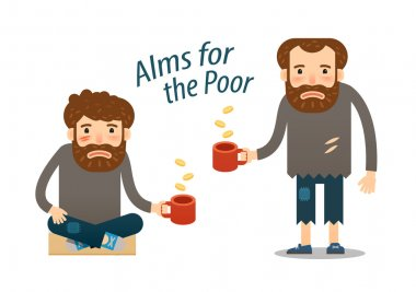 street beggar, homeless. hungry man asks for money with a mug in hand. charitable donation
