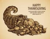 Fotografie Thanksgiving day. Holiday greeting card. Vintage sketch cornucopia with fruits and vegetables
