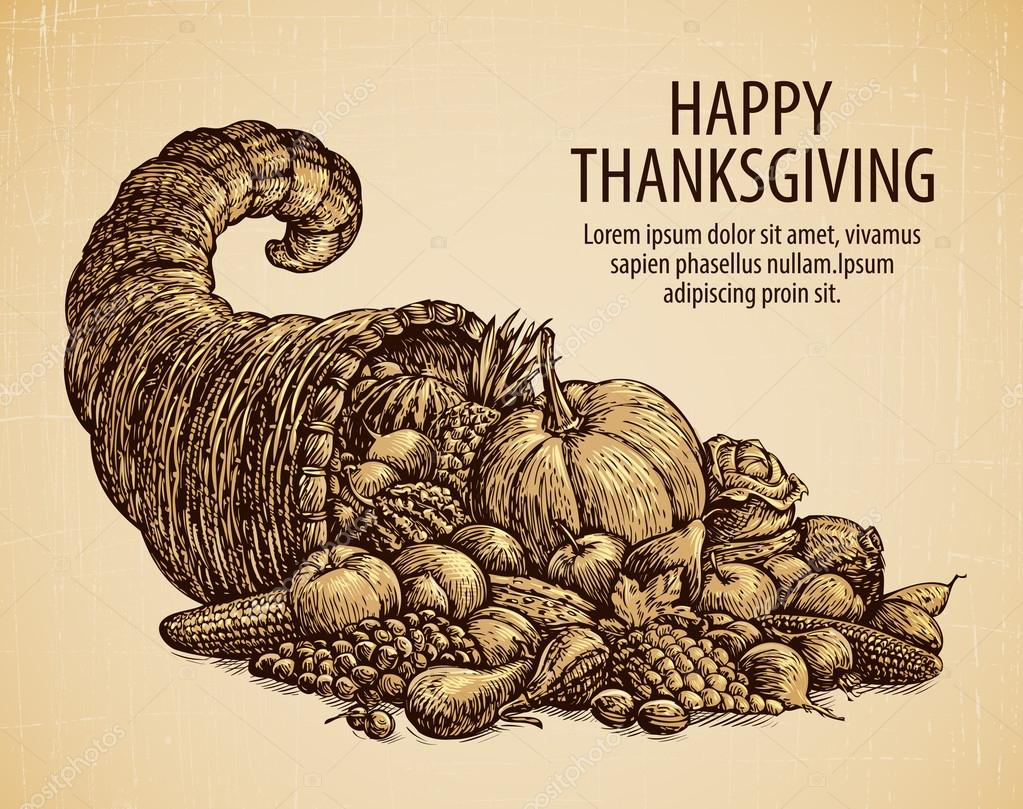 Thanksgiving day. Holiday greeting card. Vintage sketch cornucopia with fruits and vegetables