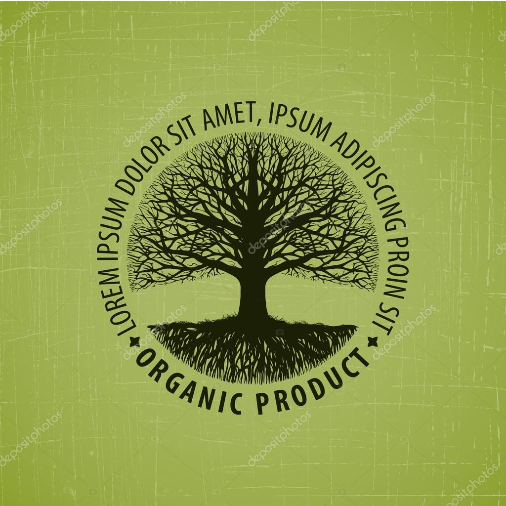 leafless tree with roots logo. tree icon. tree vector symbol. Organic product