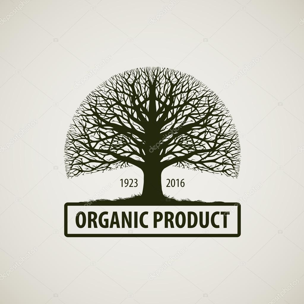 Tree without leaves sign. Tree icon. Nature or ecology vector logo. Oak symbol. Organic product