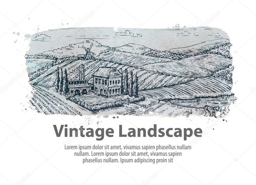 Farm, farming. Hand-drawn sketch rural landscape. Vineyard vector illustration
