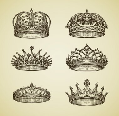 Hand-drawn vintage imperial crown in retro style. King, Emperor, dynasty, throne, luxury symbol. Vector illustration