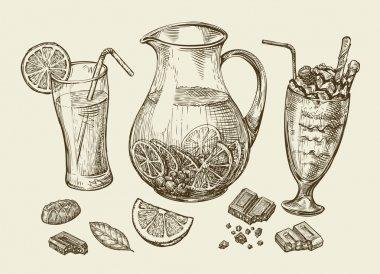 Drinks. Hand drawn cocktail, smoothie, pitcher of lemonade, milkshakes, fruit juice, chocolate, dessert, beverage. Sketch vector illustration