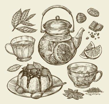 Food, dessert, drinks. Hand drawn teapot, tea, coffee, cup, pie, pasty, cake. Sketch vector illustration