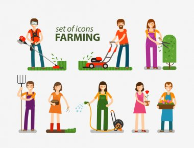 Farming and gardening, horticulture set of icons. People at work on the farm. Vector illustration