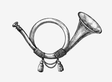 Hand drawn vintage hunting horn. Sketch post horn. Vector illustration