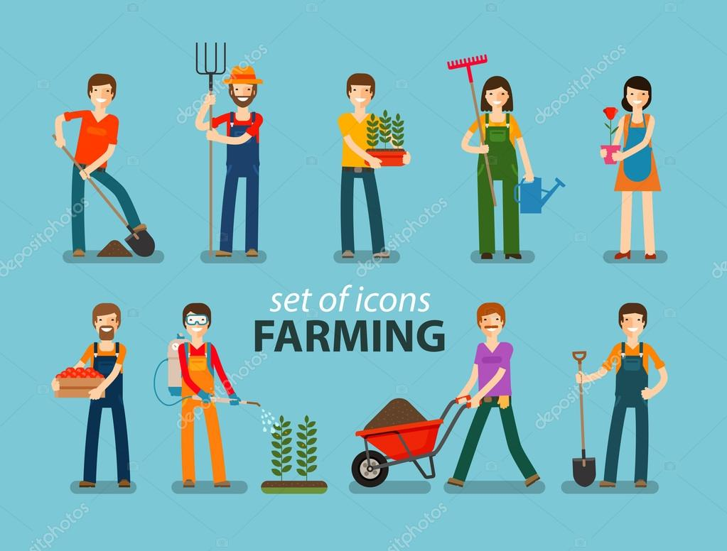 Farming and gardening icon set. People at work on the farm. Vector illustration