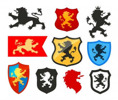 Shield with lion, heraldry vector logo. Coat of arms icons