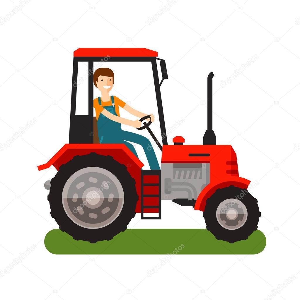 Farma Traktor Ikona Kreslene Vektorove Ilustrace Stock Vektor