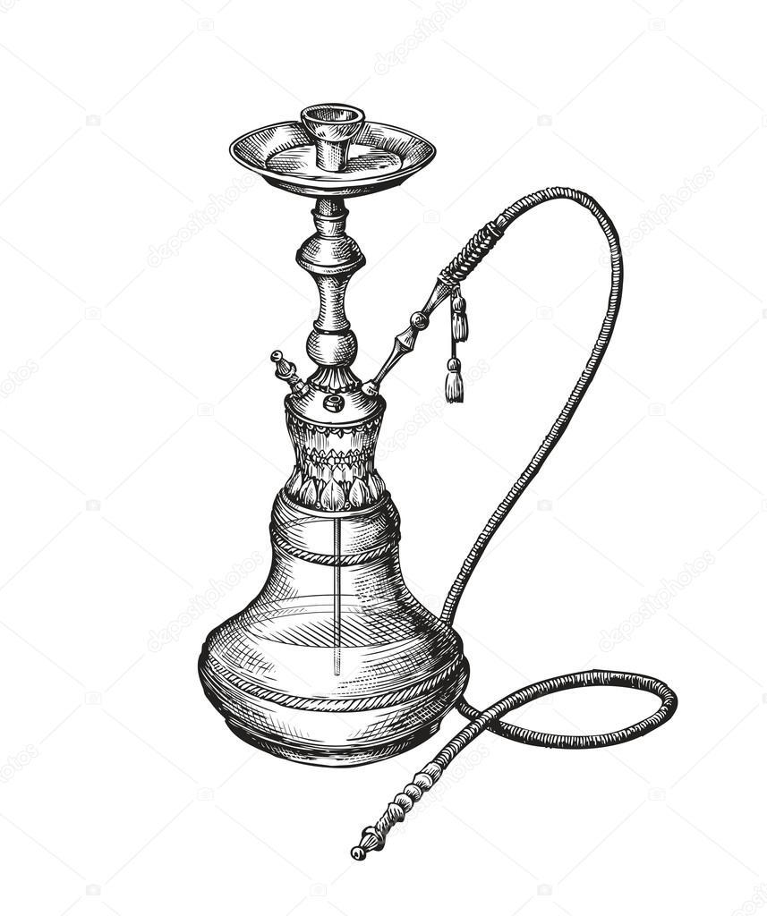 handgezeichnete vintage wasserpfeife vektor skizze shisha hookah vector png hookah vector image