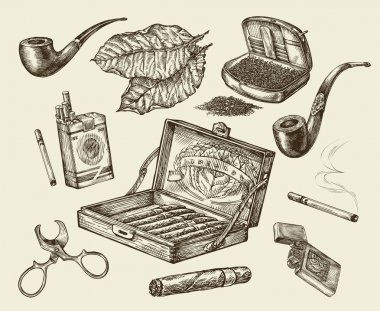 Tobacco. Vector collection smoking. Hand-drawn sketch pack of cigarettes, lignter, smoking pipe, cigar, tobacco leaf, cigarette case