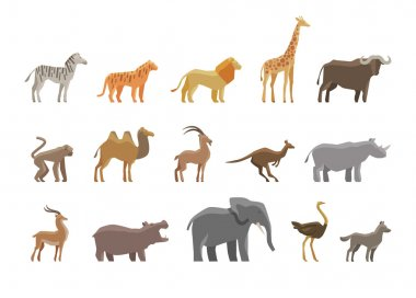 Animals. Set colored vector icons and symbols