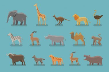 Animals set of colored icons. Vector symbols such as elephant, giraffe, kangaroo, lion, ostrich, zebra, mountain goat, rhino, camel, monkey, ox, wolf, tiger, antelope, hippo