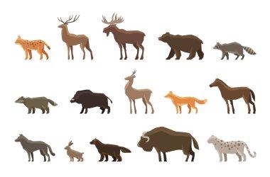 Animals icon set. Vector symbols such as lynx, deer, elk, bear, raccoon, badger, wild boar, roe , fox, horse, wolf, hare, musk ox, snow leopard, wolverine