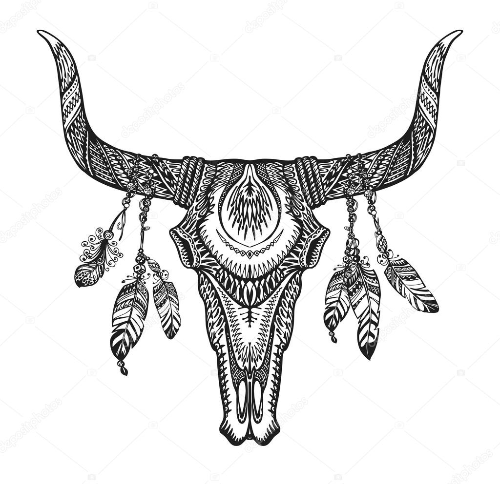 bull skull with feathers hand drawn sketch native american totem