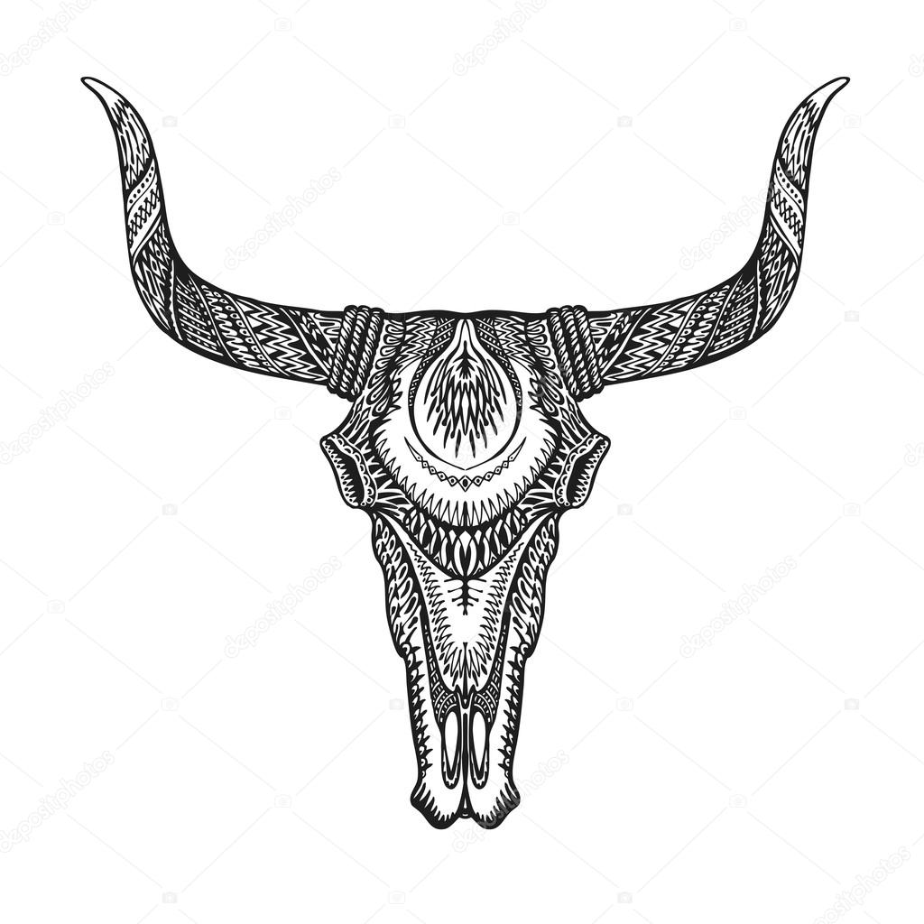 Cow Skull Embroidery Design