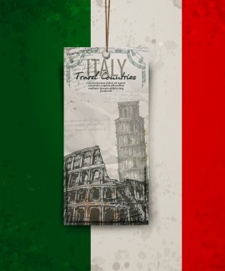 Coliseum in Rome, Italy. Colosseum, Leaning Tower hand drawn vector illustration