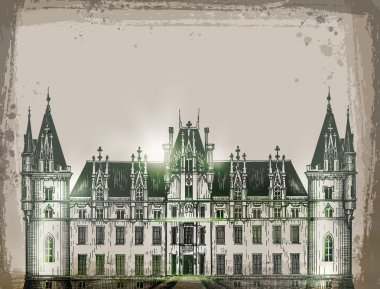 chateau, France.  Hand drawn pencil sketch vector illustration