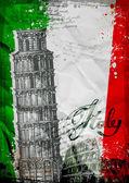 Fotografia Torre pendente di Pisa e il Colosseo su una priorità bassa della bandiera dItalia