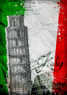 Leaning Tower of Pisa and the Colosseum on a background of the flag of Italy