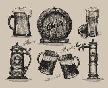 Beer set. Sketch elements for oktoberfest festival. Hand-drawn vector illustration