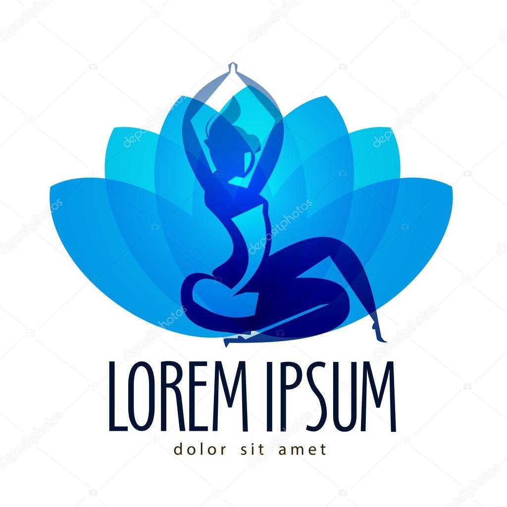 Meditation-Vektor-Logo-Design-Vorlage. Yoga und Entspannung-Symbol ...