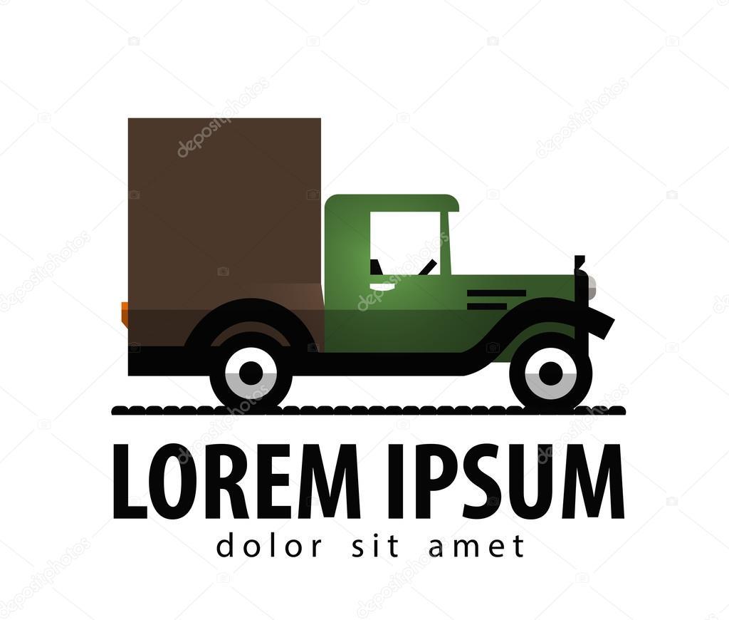Retro-Auto Vektor-Logo-Design-Vorlage. Transport oder LKW-Symbol ...