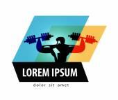 Fotografia modello di progettazione di logo di vettore di palestra. idoneità o icona di Bodybuilding