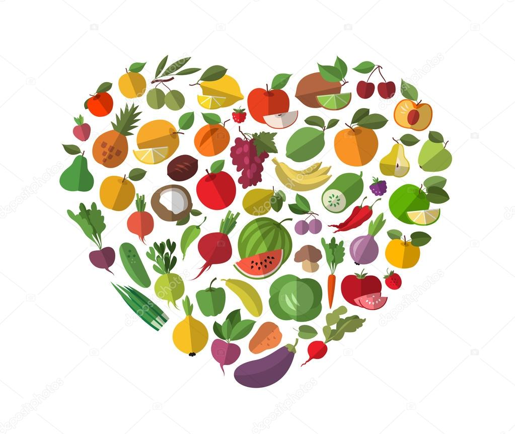 Food, heart. Vegetables and fruit set of icons