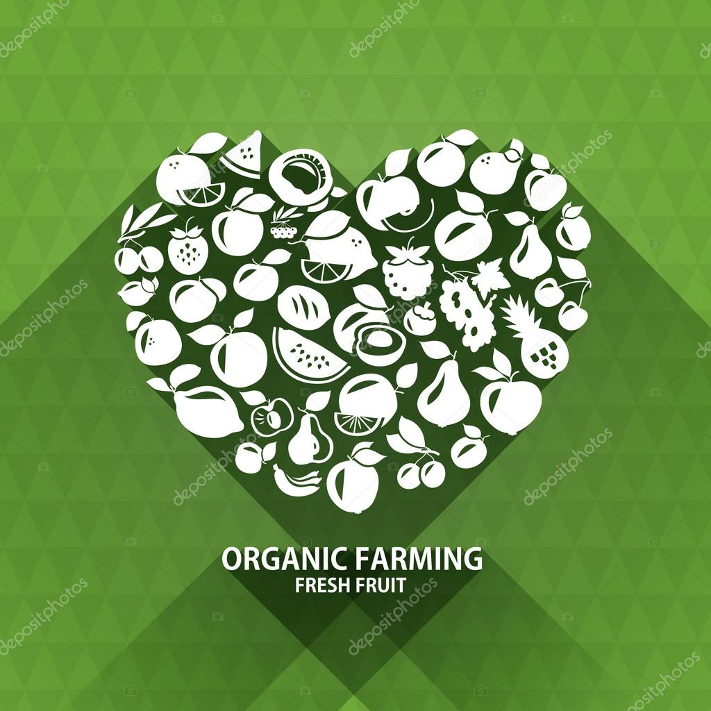 Organic food icons. Heart shape with organic vegetables and fruits