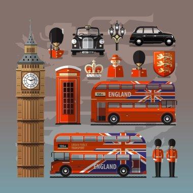 England, London, UK. Set of colored icons
