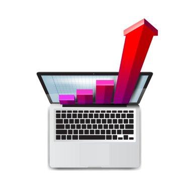 Business. Success in development. Laptop icon