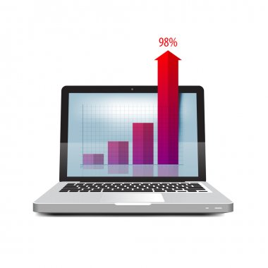 Online business. Success in business. Laptop icon