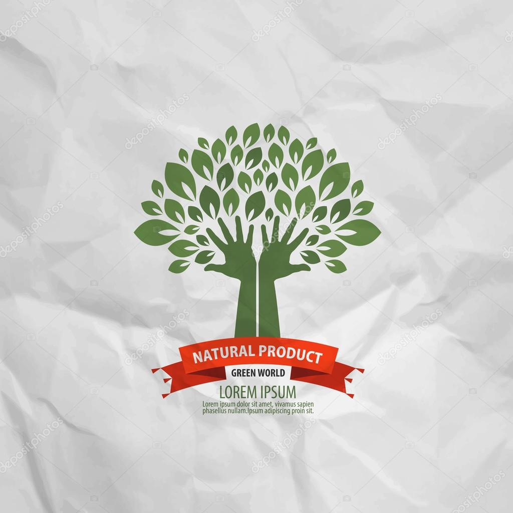 Tree and hands on a mint copy. Logo, icon, logo, stamp