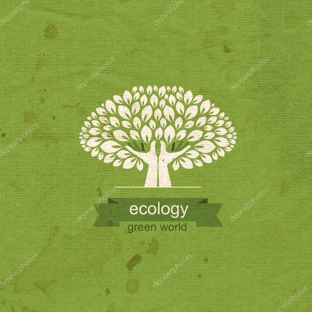 Ecology. Tree and hand in the form of a tree trunk. Logo, icon