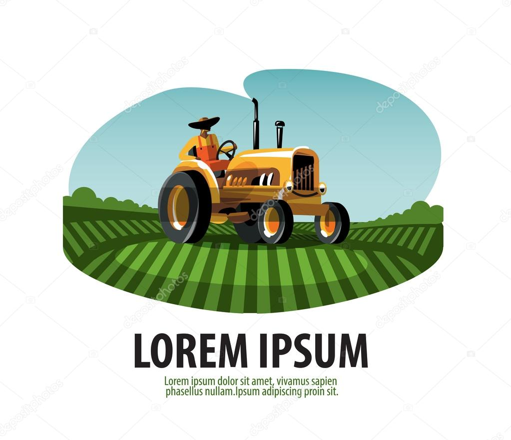 farm tractor and harvest logo icon emblem template stock